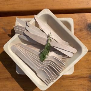 Zestaw drewnianych sztućców i talerzy